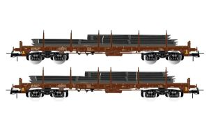Rivarossi HR6425 FS 4-axle Flat Wagons With Steel Slab Loads, x2 Wagons, V-VI